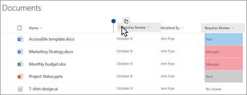 SharePoint Online ' i vaates dokumenditeek, kus on näha, kuidas lohistatakse veerg ühest kohast teise