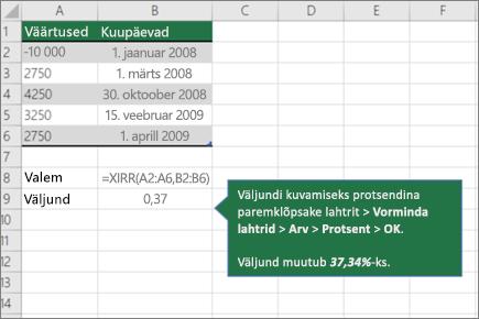 Funktsioon XIRR näide
