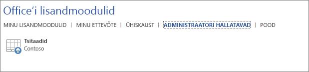 """Kuvatõmmis Office'i rakenduse Office'i lisandmoodulite lehe vahekaardist """"Administraatori hallatavad"""". Vahekaardil on kuvatud tsitaatide lisandmoodul."""