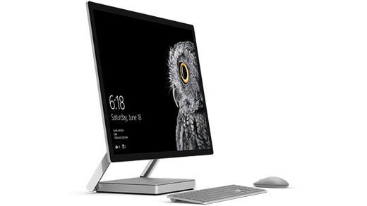 Surface Studio foto, kus on Surface Mouse ja klaviatuur