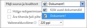 Saate konfigureerida seda, kuidas tihendab Office teie pildid, et tasakaalustada faili mahtu ja kvaliteeti