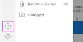 """Puudutage rakenduses Outlook for iOS nuppu """"?"""""""