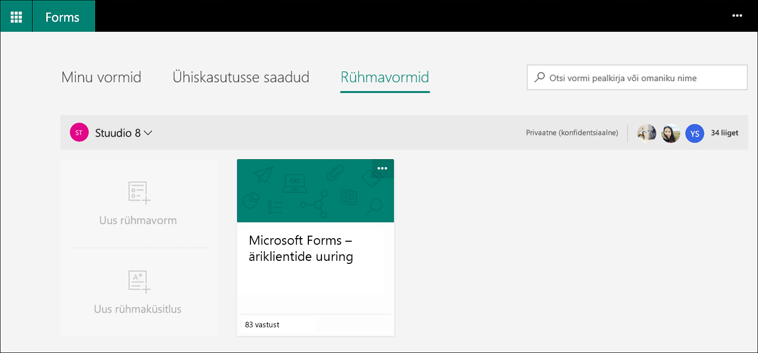 Microsoft Forms Group Forms menüü