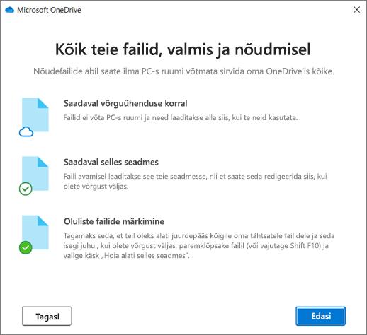 OneDrive ' i Tere tulemast OneDrive ' i viisardisse Kuva failid