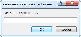 """Parameetriviip tekstiga """"Sisestage riik/regioon""""."""