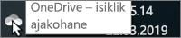 Kuvatõmmis, mis kujutab kursorit valge OneDrive'i ikooni kohal koos tekstiga OneDrive – Isiklik.