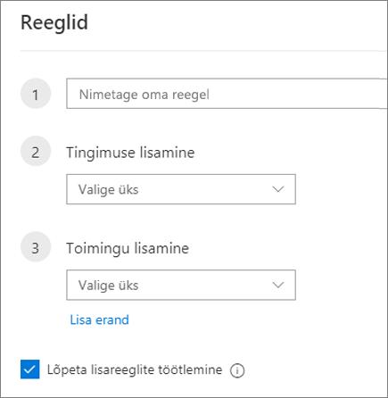 Uue reegli loomine Outlooki veebirakenduses