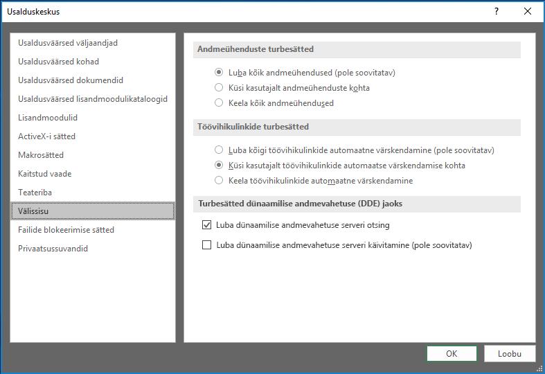 Välissisu Exceli usalduskeskuse sätteid
