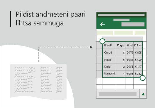 Kontseptuaalne art-joonistatud tabeli lisada Exceli tabelina käes seadmes.