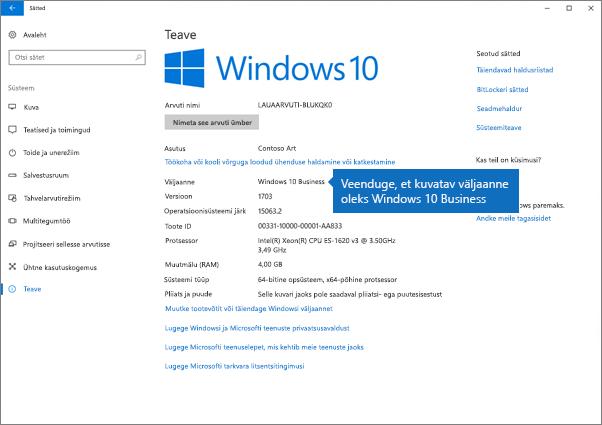 Veenduge, et Windowsi versioon on Windows 10 Business.