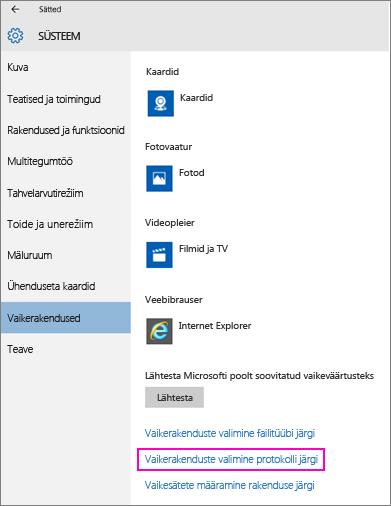 "Kuvatõmmis opsüsteemi Windows 10 sättest ""Sea rakenduste vaikesätted""."