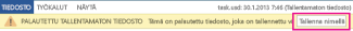 Palautetun tiedoston tallentaminen Word 2013:ssa