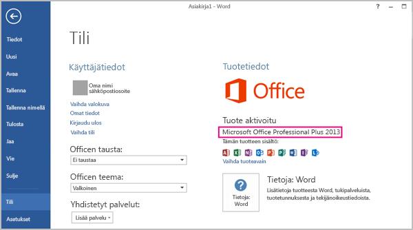 Word 2013, jossa näkyy Tiedosto > Tili -ikkuna