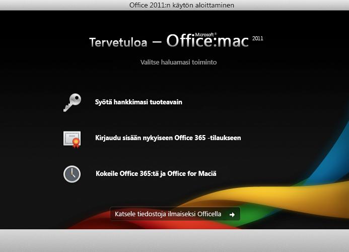 Voimassa olevaan Office 365 -tilaukseen kirjautuminen