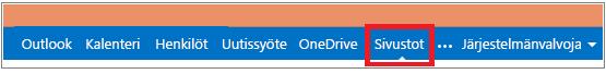 Valikkopalkki, jossa Sivustot-linkki on korostettuna
