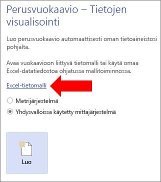 Excel-tietomallin linkin valitseminen