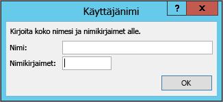 Käyttäjänimi-valintaikkuna