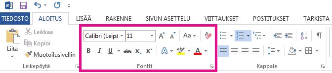 Fonttityökalut ovat Aloitus-välilehdessä