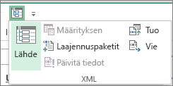 Valitse pikatyökaluriviltä XML