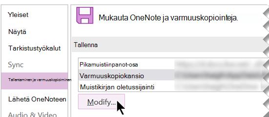 Näyttökuva OneNote 2016:n OneNoten asetukset -valintaikkunasta.