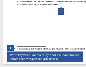 Word käyttää numeroa tai symbolia yhdistääkseen viitteen tiettyyn viittauskohtaan asiakirjassa