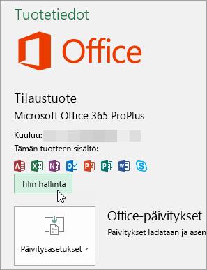 Näyttökuva Tilin hallinnan valitsemisesta Tili-sivulta Office-työpöytäsovelluksesta