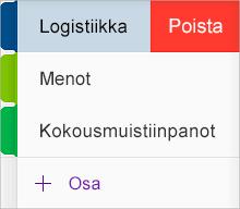 Osan poistaminen OneNote for iOS:ssä