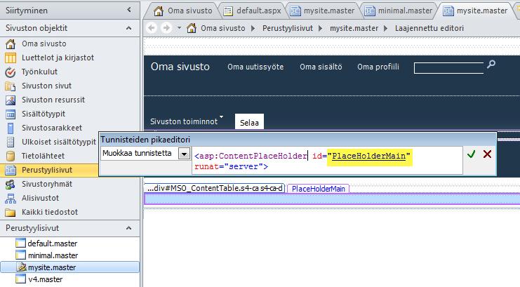 Kukin sisältösivu korvaa PlaceHolderMain-ohjausobjektin, kun oman sivuston perustyylisivua tarkastellaan selaimessa.