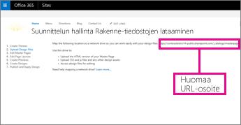 Kopioi URL-osoite Office 365:n Design Managerista tai paina se mieleen
