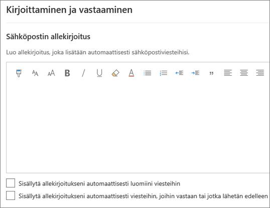 Sähköpostin allekirjoituksen luominen Outlookin verkkoversiossa
