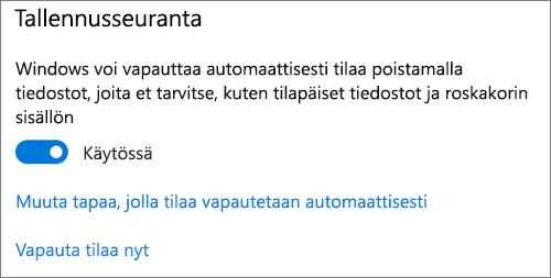Windows 10-tallennus tilan vaihto, jotta tallennus tilan seuranta aktivoituu