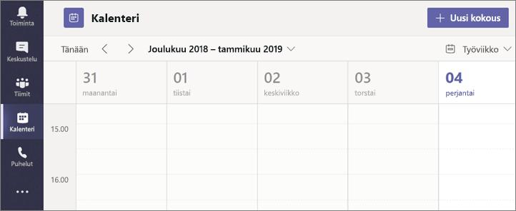 Valitse Kalenteri ja valitse sitten Uusi kokous.