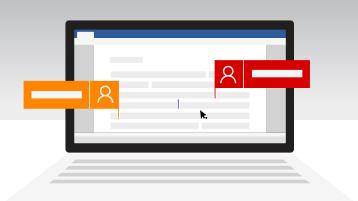 Merkinnät, jotka osoittavat, että kaksi käyttäjää muokkaa Word-asiakirjaa