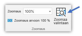 Näyttökuva Zoomaa valintaan -painikkeesta, joka on valintanauhan Näytä-välilehdessä.