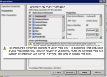 Näyttökuva 2 Kaikki toiminnot -valintaikkunasta SharePoint Designerissa. Tällä sivulla on varoituksia, jotka antavat tietoja luettelon avainominaisuuksien asetuksista.