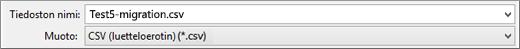 Excelin Tallenna CSV-tiedostona -vaihtoehto