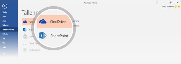 Asiakirjan OneDrive- ja SharePoint-tallennussijaintivaihtoehdot korostettuina
