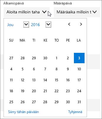 Näyttökuva Planner-tehtävän laajennetusta Aloituspäivä-valikosta.