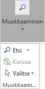 Avattavan luettelon avaaminen valitsemalla Muotoile teksti ja valitsemalla Muokkaaminen