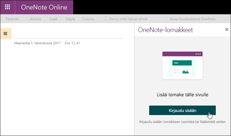 OneNote-paneelin lomakkeet OneNote Onlinessa