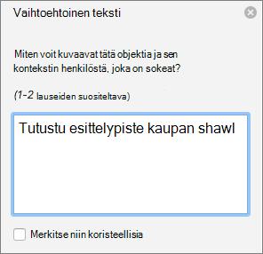 Vaihtoehtoinen teksti-ruudussa Wordissa