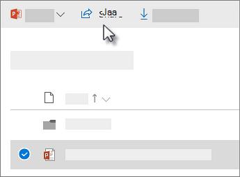 Näyttökuva tiedoston valitsemisesta ja Jaa-komennon valitsemisesta