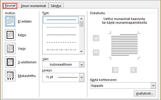 Word 2010:n Reunat ja sävytys -valintaikkuna