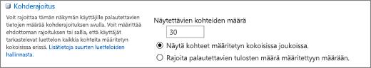 Määritä Näkymän asetukset -sivulla näytettävien kohteiden määrä