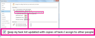 Päivitä omaan tehtäväluetteloon muille käyttäjille osoitettujen tehtävien kopiot -valintaruutu