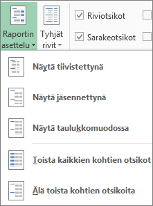 Raportin asettelu