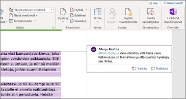 Word-asiakirjan kommentti, joka sisältää työtoverin maininnan