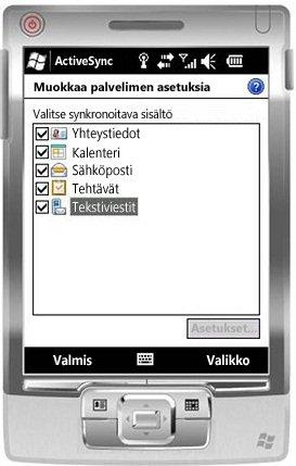 Valitse Windows Mobile 6.5:ssä Tekstiviestit-valintaruutu