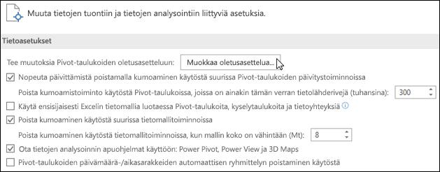 Muokkaa Pivot-taulukon oletusasettelua valitsemalla Tiedosto > Asetukset > Tiedot
