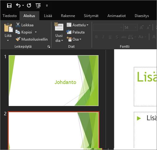 Näyttää mustan teeman PowerPoint 2016 for Windowsissa
